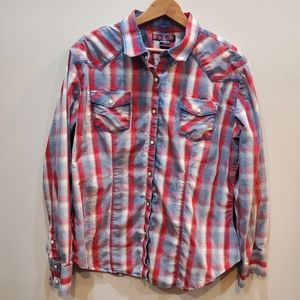 Rock & Roll Cowgirl Red & Blue Plaid Shirt